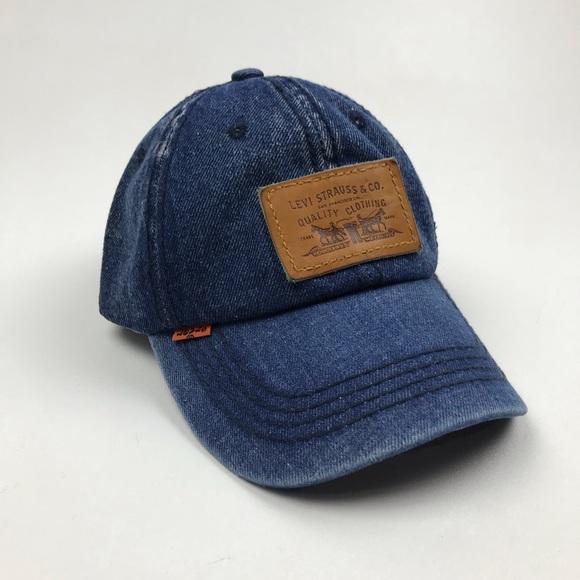 72172ad1 Levi's Accessories | Levis Strauss Leather Strapback Orange Tab Hat ...
